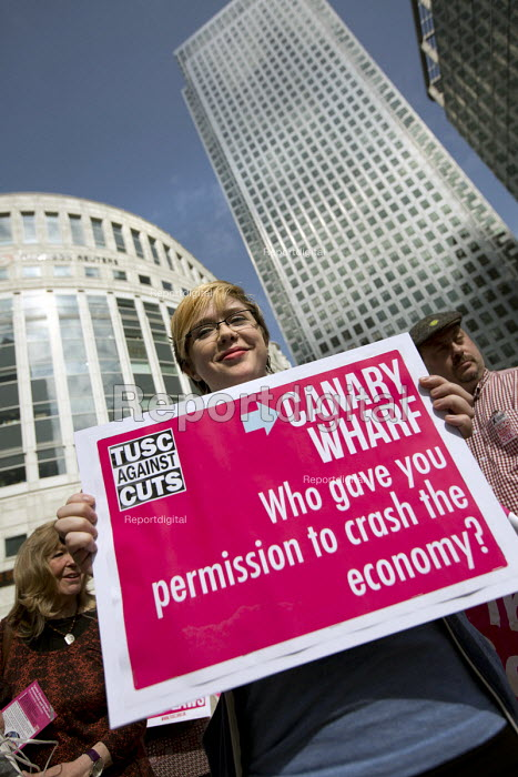 Trade Union and Socialist Coalition, TUSC launch their election manifesto at Canary Wharf. London Docklands. - Jess Hurd - 2015-04-10