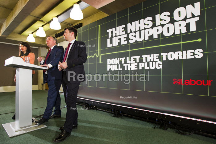 Ed Balls speaking, with Liz Kendall MP and Andy Burnham MP. Launch of NHS week, including new analysis of Conservative plans, a poster launch and Q&A, London. - Jess Hurd - 2015-04-20