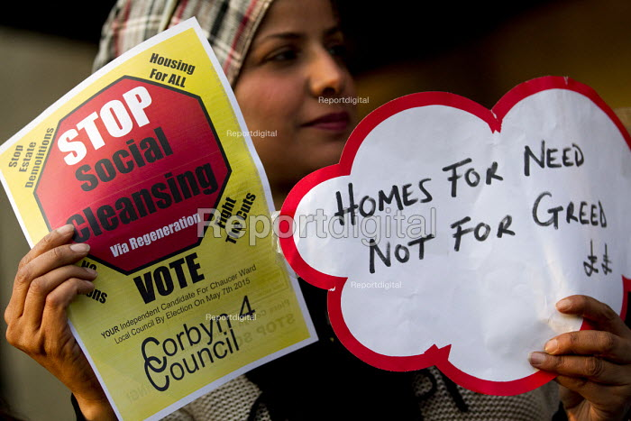 Homes for Need not for Greed. Social housing and anti-gentrification campaigners disrupt the annual Property Awards attended by luxury property development companies. Grovesnor Hotel, Park Lane. London. - Jess Hurd - 2015-04-22