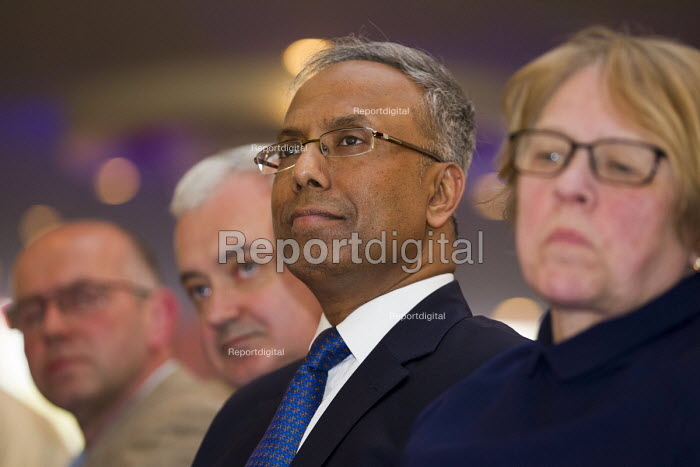 Lutfur Rahman flanked by Andrew Murray, Unite and Lindsey German, Stop The War. Defend Democracy in Tower Hamlets. Community leaders speak out against the removal of Tower Hamlets, Mayor Lutfur Rahman and the banning of his organisation. East London. - Jess Hurd - 2015-04-30
