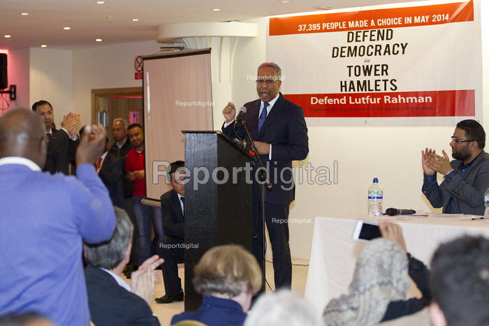 Defend Democracy in Tower Hamlets. Community leaders speak out against the removal of Tower Hamlets, Mayor Lutfur Rahman and the banning of his organisation. East London. - Jess Hurd - 2015-04-30