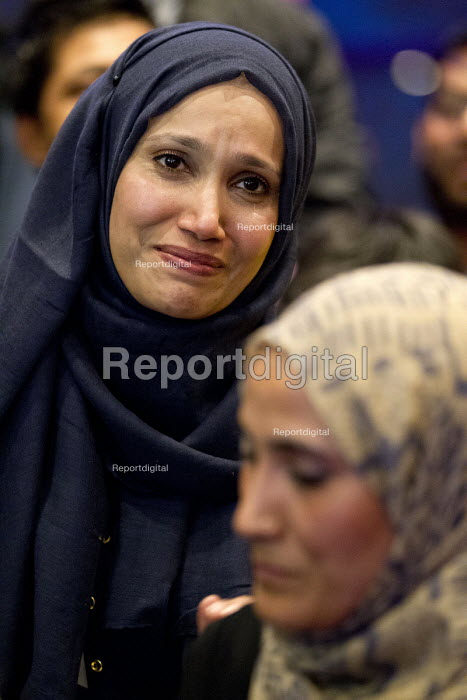Cllr Rabina Khan, announced as mayoral candidate after the removal of Tower Hamlets Mayor Lutfur Rahman and the banning of Tower Hamlets First. Community leaders speak out at a Defend Democracy meeting in Tower Hamlets. East London. - Jess Hurd - 2015-04-30