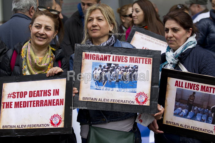 Migrant Lives Matter - Stop Deaths in the Mediterranean. Britain Alevi Federation (BAF). May Day, International Workers Day protest. London. - Jess Hurd - 2015-05-01