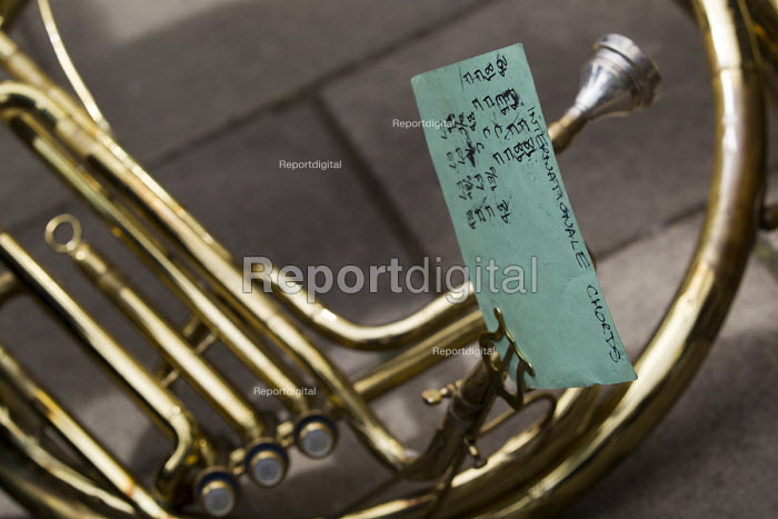 The Internationale cords - French Horn. May Day, International Workers Day protest. London. - Jess Hurd - 2015-05-01