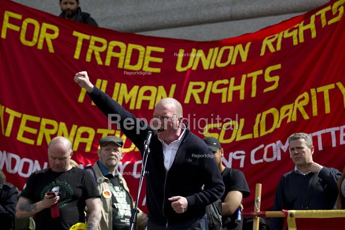 Matt Wrack FBU. May Day, International Workers Day protest. Trafalgar Square, London. - Jess Hurd - 2015-05-01