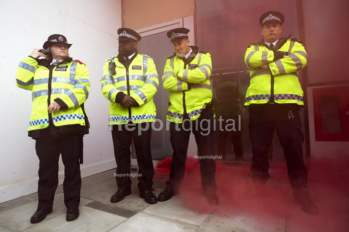 Class War protest against Poor Doors - different entrances for social housing and penthouse accommodation in Aldgate East. May Day, International Workers Day protest. London. - Jess Hurd - 2015-05-01