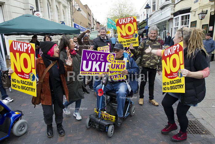 UKIP election campaigning for Nigel Farage and the No UKIP campaigners. Thanet. - Jess Hurd - 2015-05-02