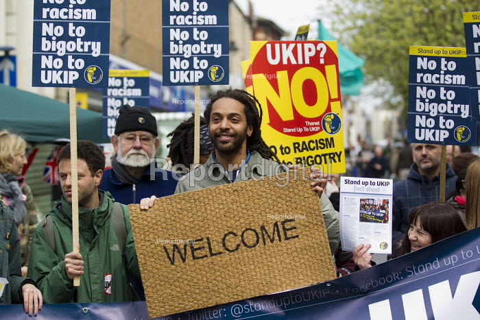 Welcome mat. Election campaigning against UKIP and Nigel Farage in Ramsgate, Thanet. - Jess Hurd - 2015-05-02