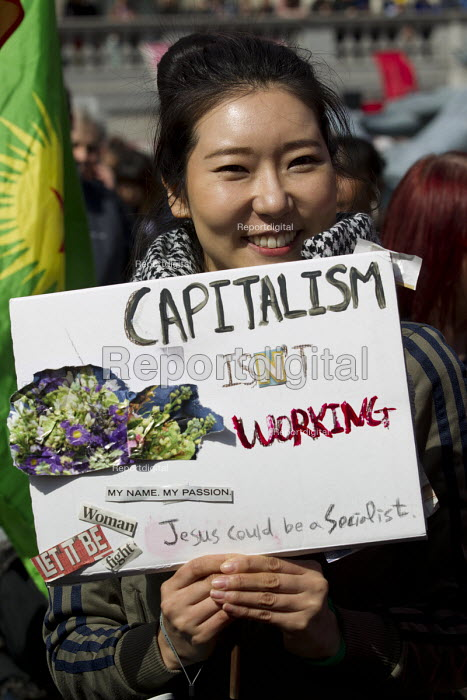 Capitalism Isn't Working - Korean worker. May Day, International Workers Day protest. London. - Jess Hurd - 2015-05-01