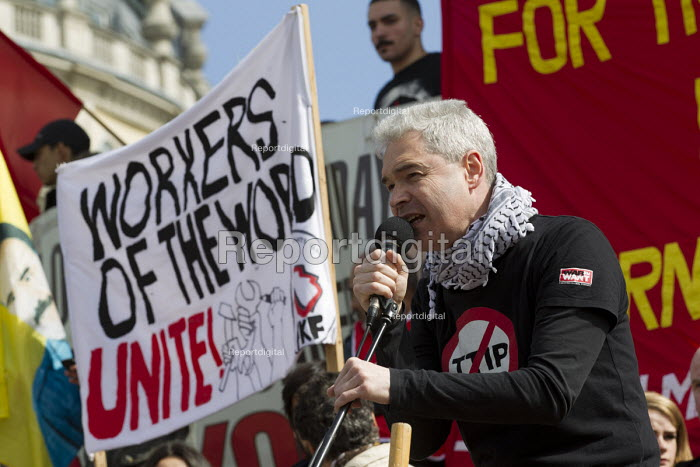 Nick Dearden, War on Want. May Day, International Workers Day protest. London. - Jess Hurd - 2015-05-01