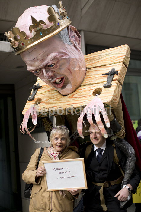 Louise Christian, solicitor. Farewell Party for Puppet Chris Grayling at the Ministry of Justice. Against the reorganisation of criminal defence Organised by the Justice Alliance. London. - Jess Hurd - 2015-05-05