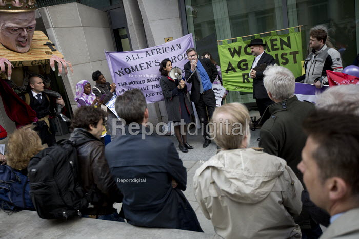 Farewell Party for Puppet Chris Grayling at the Ministry of Justice. Against the reorganisation of criminal defence Organised by the Justice Alliance. London. - Jess Hurd - 2015-05-05