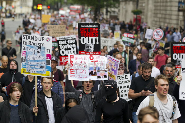 Anti austerity protests on the day of the Queens Speech and opening of Parliament. Whitehall, London. - Jess Hurd - 2015-05-27