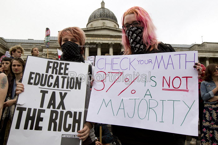 Free education Tax the Rich, Anti austerity protests on the day of the Queens Speech and opening of Parliament. Trafalgar Square. London. - Jess Hurd - 2015-05-27