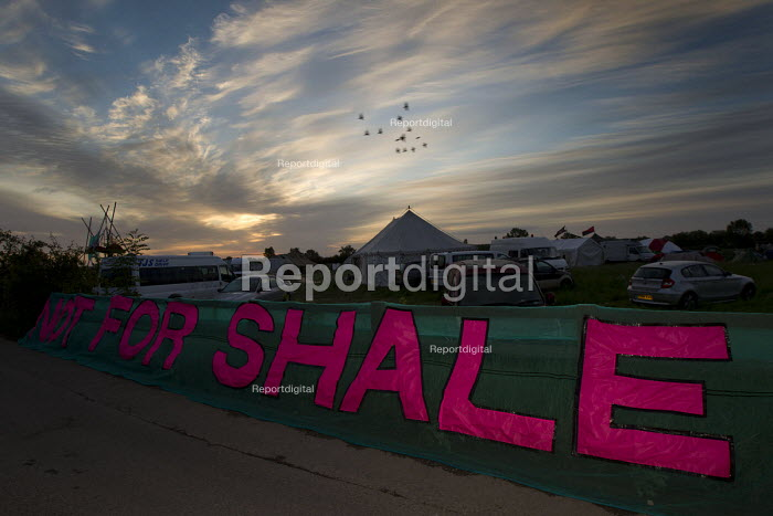 Not For Shale banner. Reclaim The Power protest camp against the fossil fuel industry, Didcot Power Station. Oxfordshire. - Jess Hurd - 2015-06-01