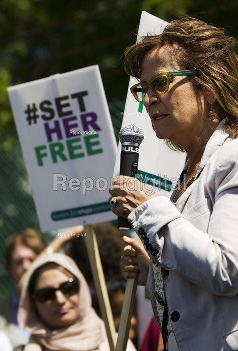 Helena Kennedy QC. Surround Yarls Wood, End Detention. Set Her Free. Protest outside Yarls Wood Immigration Detention Centre against women in detention. Bedfordshire. - Jess Hurd - 2015-06-06