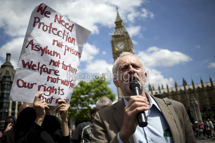 Jeremy Corbyn MP. Close Down Detention Centres protest. Parliament, Westminster. - Jess Hurd - 2015-06-15