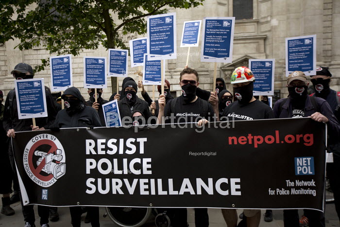 NetPol face masks to combat police surveillance, The Privacy Block. Peoples Assembly Against Austerity protest against cuts in anti-austerity march. London. - Jess Hurd - 2015-06-20