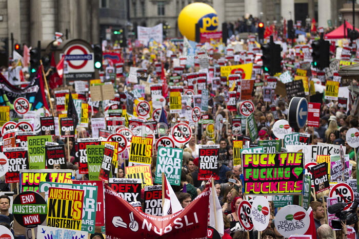 Peoples Assembly Against Austerity protest against cuts in anti-austerity march. London. - Jess Hurd - 2015-06-20