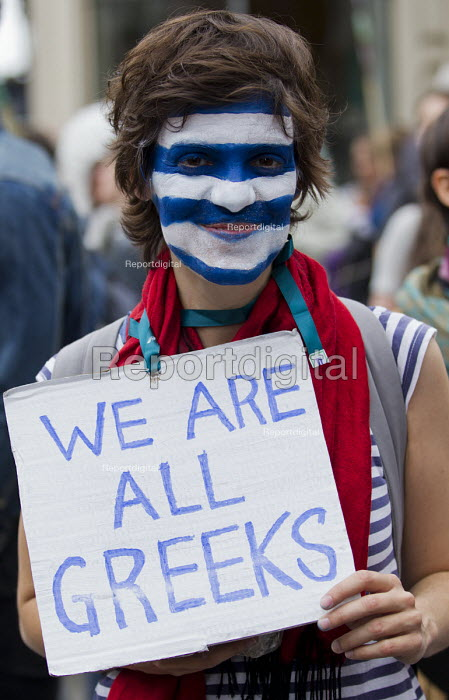 We are all Greeks. Peoples Assembly Against Austerity protest against cuts in anti-austerity march. London. - Jess Hurd - 2015-06-20