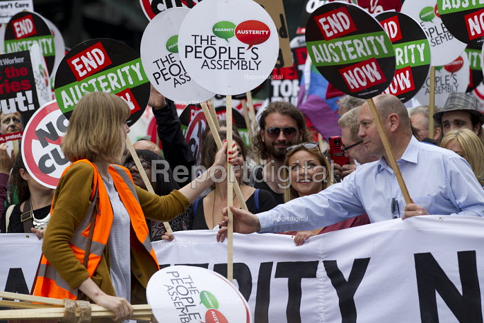 Steve Turner, Unite, with Charlotte Church. Peoples Assembly Against Austerity protest against cuts in anti-austerity march. London. - Jess Hurd - 2015-06-20