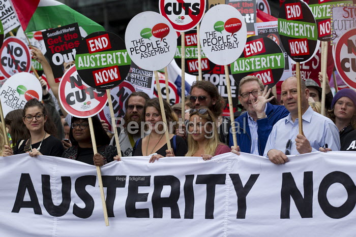 Len McCluskey, Unite, Steve Turner, Unite, with Charlotte Church. Peoples Assembly Against Austerity protest against cuts in anti-austerity march. London. - Jess Hurd - 2015-06-20