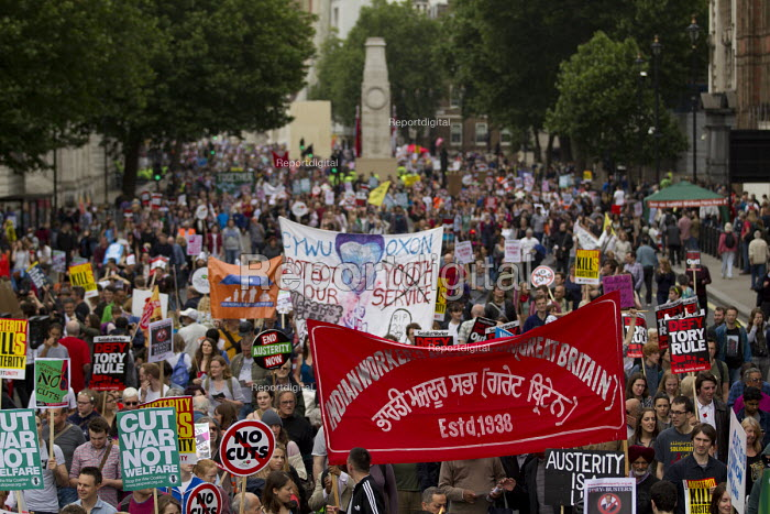 Indian Workers Association banner, Peoples Assembly Against Austerity protest against cuts in anti-austerity march. London. - Jess Hurd - 2015-06-20