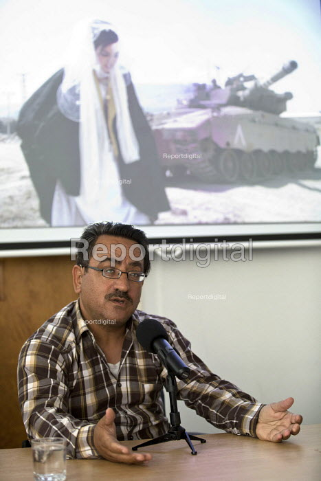Nablus based Reuters photojournalist Abed Qusini speaks at the NUJ about his work and the safety of journalists. London. - Jess Hurd - 2015-06-23
