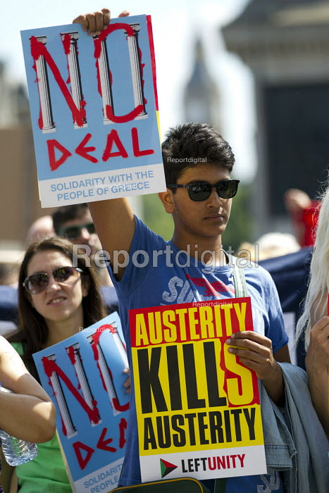 Solidarity With the Greek People, No to Austerity. No, OXI rally against austerity imposed by the Troika. Trafalgar Square. London. - Jess Hurd - 2015-07-04
