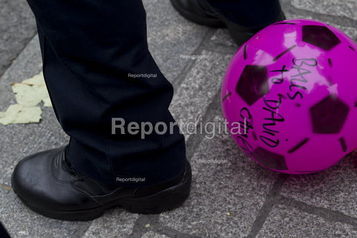 Balls To The Budget, Disabled People Against Cuts throwing balls at Downing Street as George Osborne leaves to deliver his budget to Parliament, Westminster, London - Jess Hurd - 2015-07-08