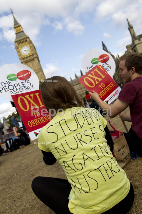 Student nurses against austerity. Anti austerity protests on the day of the budget. Organised by The Peoples Assembly. Westminster. London. - Jess Hurd - 2015-07-08