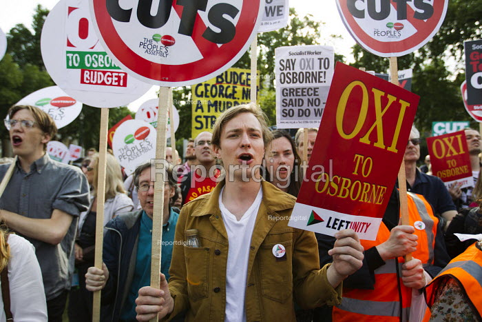Oxi to Osborne. Anti austerity protests on the day of the budget. Organised by The Peoples Assembly. Westminster. London. - Jess Hurd - 2015-07-08