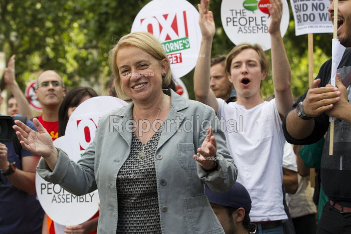 Natalie Bennett, Green Party speaking. Anti austerity protest on the day of the budget. Organised by The Peoples Assembly. Westminster. London. - Jess Hurd - 2015-07-08