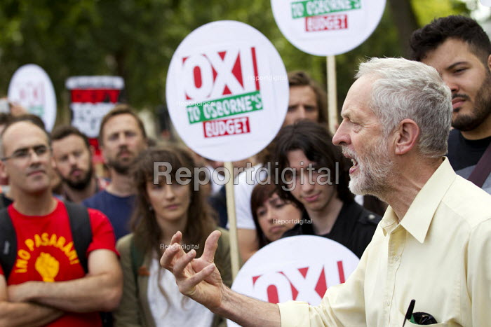 Jeremy Corbyn MP speaking. Anti austerity protest on the day of the budget. Organised by The Peoples Assembly. Westminster. London. - Jess Hurd - 2015-07-08