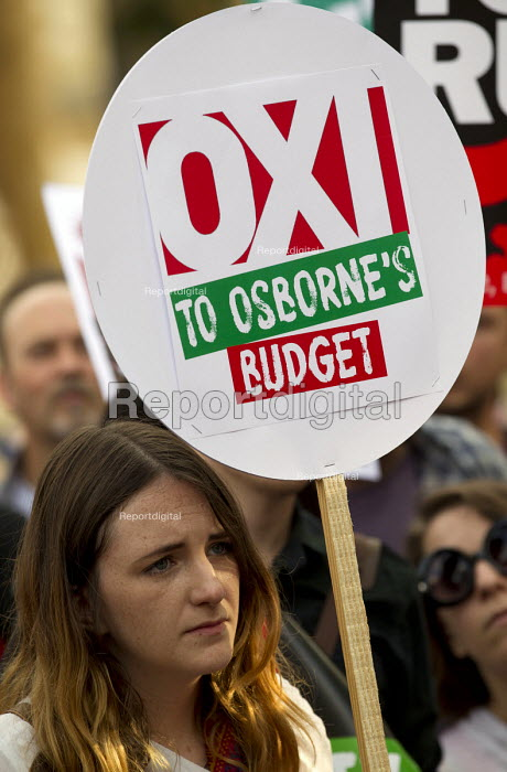 Oxi to Osborne. Anti austerity protest on the day of the budget. Organised by The Peoples Assembly. Westminster. London. - Jess Hurd - 2015-07-08