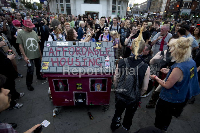 Affordable Housing. Class War - Gentrify This. Fuck Parade, party and protest against gentrification. Camden. London. - Jess Hurd - 2015-07-11