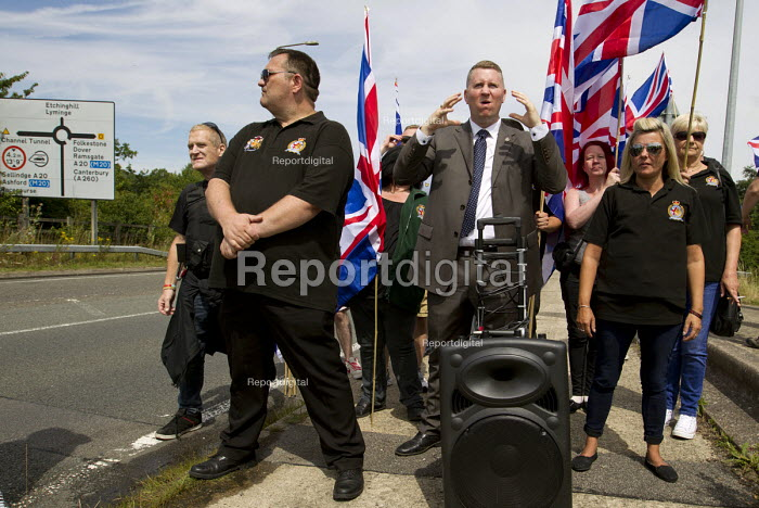 Paul Golding, Britain First oppose Folkestone United, Stop Tunnel Deaths. Protest against migrant rights. Eurotunnel, Folkestone. Kent. - Jess Hurd - 2015-08-01