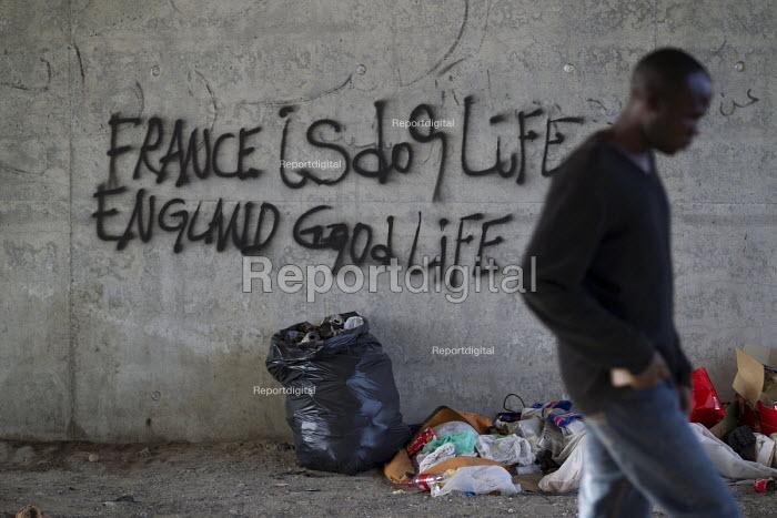 France is dog life England good life graffiti Calais migrant camp The Jungle France - Jess Hurd - 2015-08-02