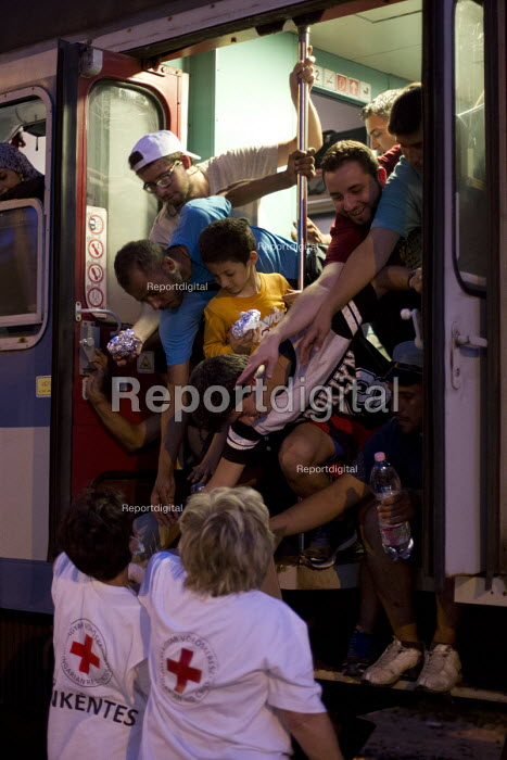 Red Cross distributing food to refugees using the Beremend, Hungarian border crossing. Hungary. - Jess Hurd - 2015-09-19