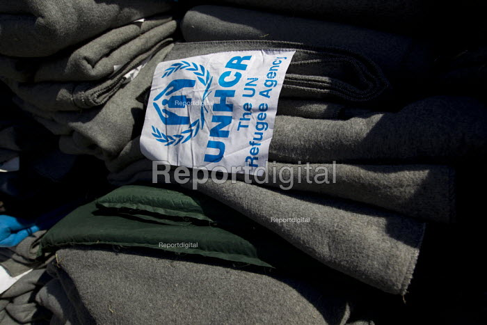 Piles of UNHCR blankets at the Opatovak refugee camp. Croatia. - Jess Hurd - 2015-09-23