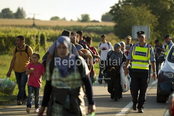 Exhausted refugees wait walk to Opatovac refugee camp. Croatia. - Jess Hurd - 2015-09-22