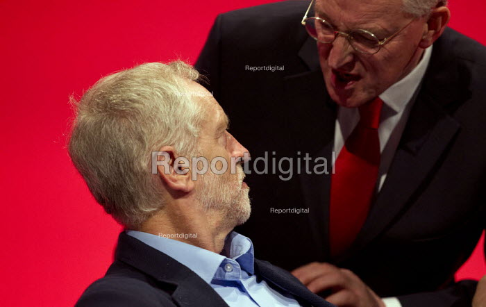 Jeremy Corbyn with Hilary Benn MP. Labour Party Conference, Brighton. - Jess Hurd - 2015-09-28