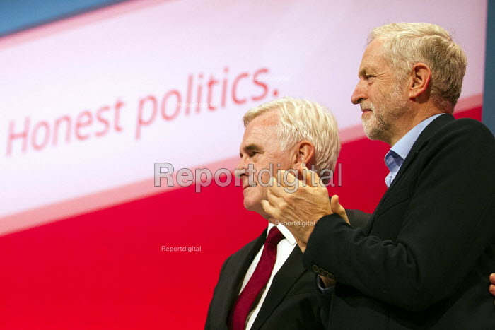 Jeremy Corbyn, leader with John McDonnell MP. Labour Party Conference, Brighton. - Jess Hurd - 2015-09-28