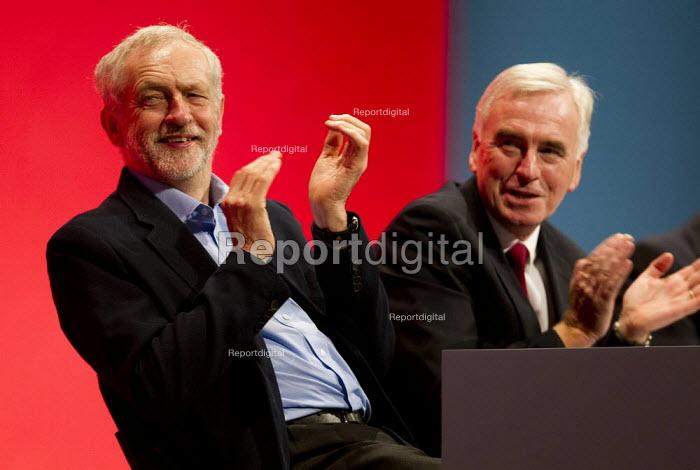 Jeremy Corbyn and John McDonnell MP. Labour Party Conference, Brighton. - Jess Hurd - 2015-09-28