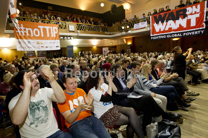 Audience applaud John McDonnell MP speaking at Rise up against TTIP rally, Conway Hall. Organised by Friends of the Earth, Global Justice Now & War on Want. London. - Jess Hurd - 2015-10-10