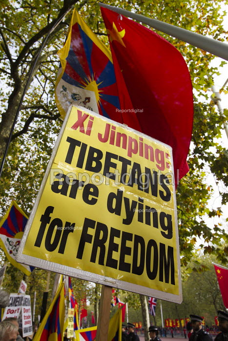 Free Tibet human rights protest state visit of Chinese president Xi Jinping London - Jess Hurd - 2015-10-20