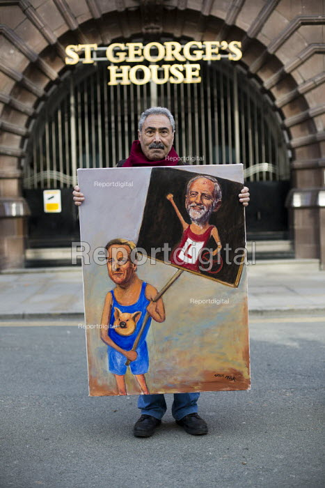Artist Kaya Mar with satirical painting of Cameron & Corbyn TUC march against austerity cuts and unfair Trade Union Bill, Conservative Party Conference, Manchester. - Jess Hurd - 2015-10-04