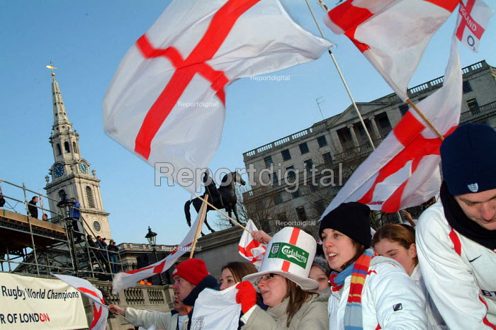 England rugby supporters at the Rugby World Cup Champions England London Victory Parade, Trafalgar Square, London. - James Jenkins - 2003-12-08