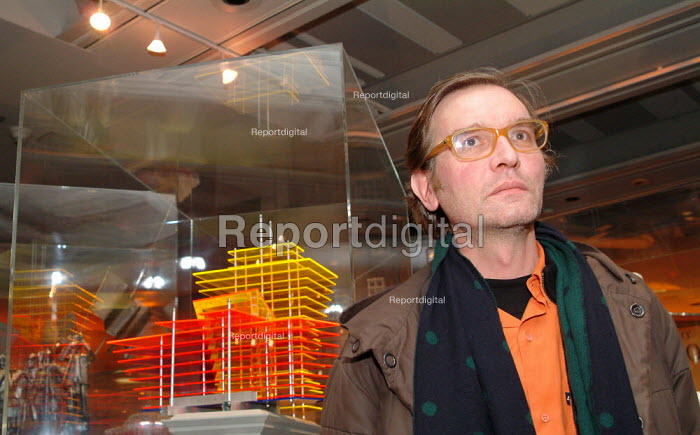 "Artist Thomas Schutte and his ""Hotel for the Birds"", at the Fourth Plinth private view, National Gallery, London. - James Jenkins - 2003-12-11"
