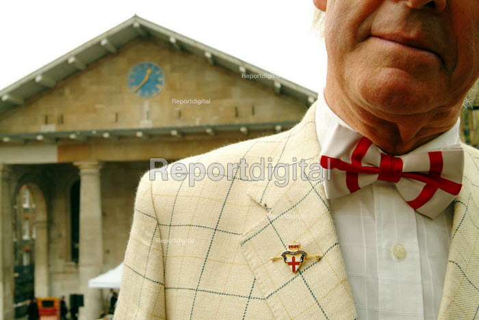 Man wearing St George's bow tie to mark St George's Day. - James Jenkins - 2005-04-23